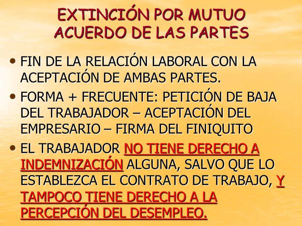 EXTINCIÓN POR MUTUO ACUERDO DE LAS PARTES