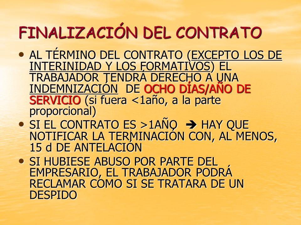 FINALIZACIÓN DEL CONTRATO