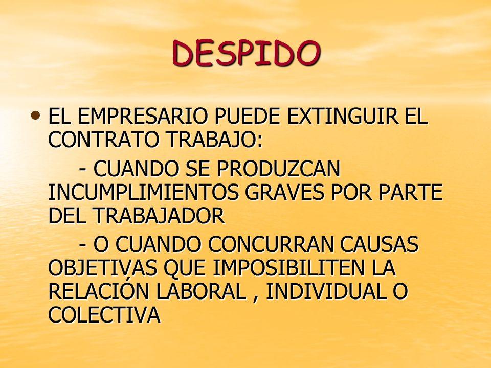 DESPIDO EL EMPRESARIO PUEDE EXTINGUIR EL CONTRATO TRABAJO: