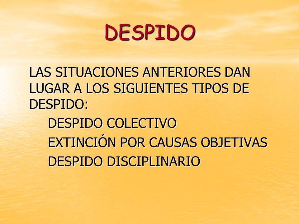 DESPIDO LAS SITUACIONES ANTERIORES DAN LUGAR A LOS SIGUIENTES TIPOS DE DESPIDO: DESPIDO COLECTIVO.
