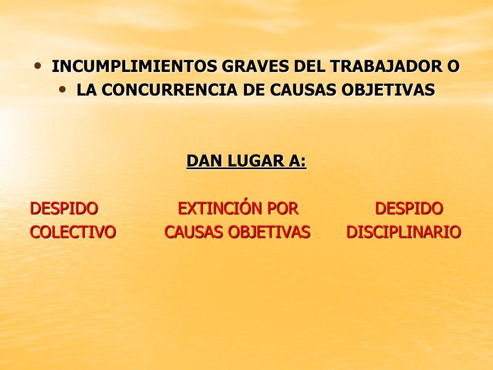 INCUMPLIMIENTOS GRAVES DEL TRABAJADOR O