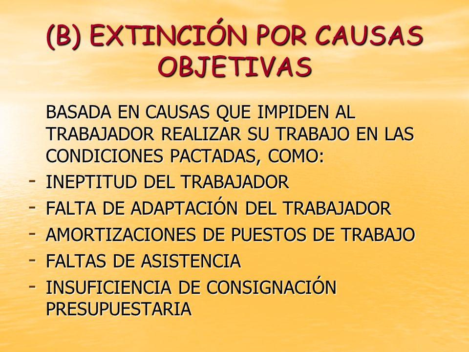 (B) EXTINCIÓN POR CAUSAS OBJETIVAS