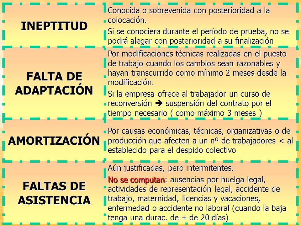 INEPTITUD FALTA DE ADAPTACIÓN FALTAS DE ASISTENCIA