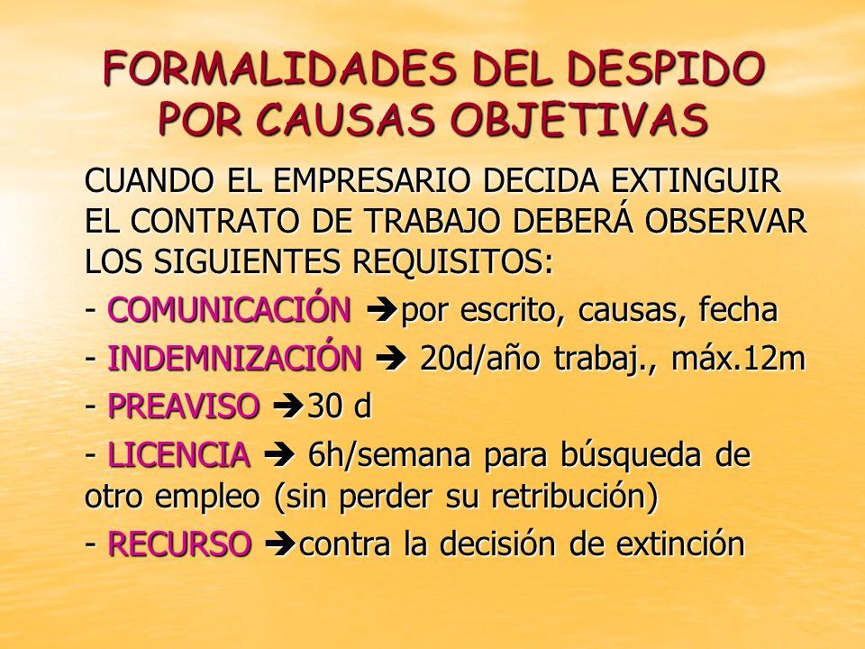 FORMALIDADES DEL DESPIDO POR CAUSAS OBJETIVAS