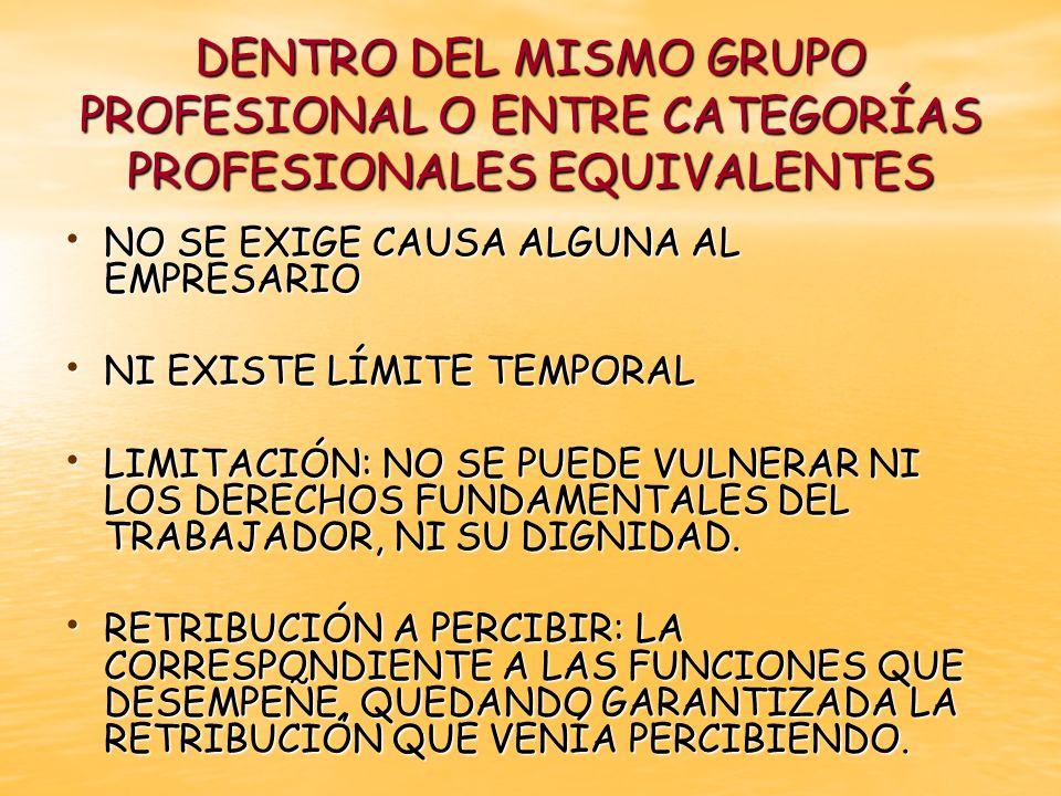 DENTRO DEL MISMO GRUPO PROFESIONAL O ENTRE CATEGORÍAS PROFESIONALES EQUIVALENTES