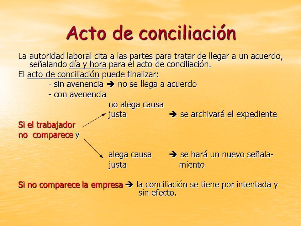 Acto de conciliación La autoridad laboral cita a las partes para tratar de llegar a un acuerdo, señalando día y hora para el acto de conciliación.