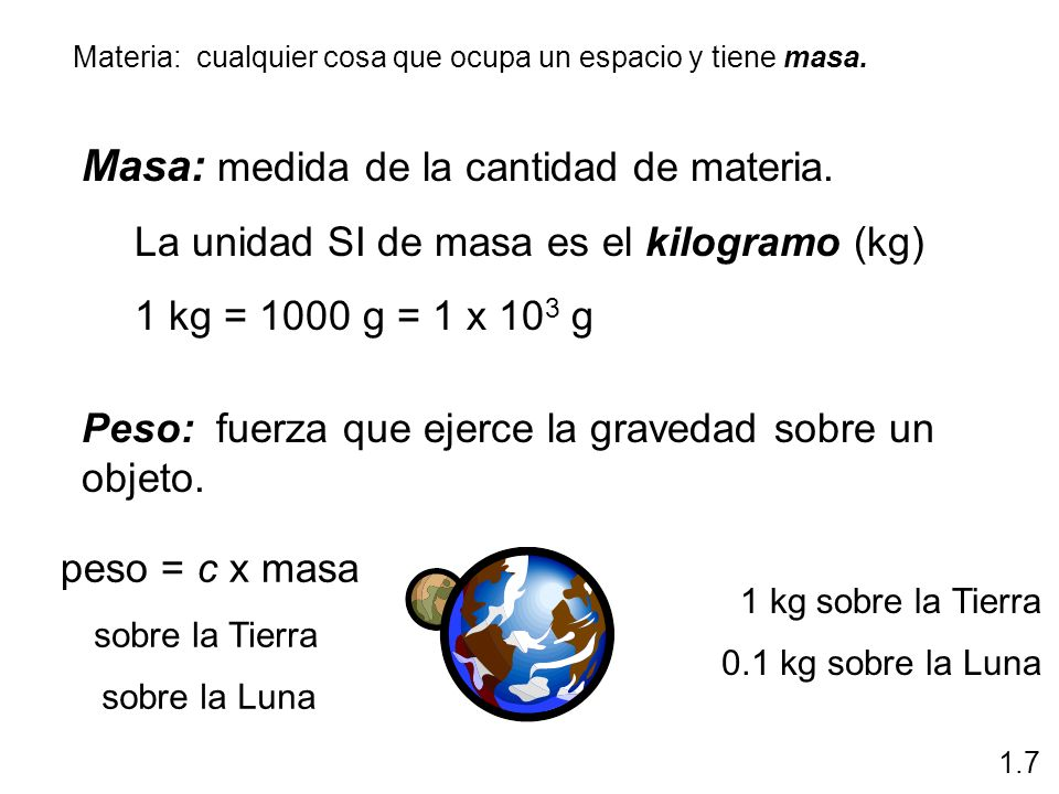 Masa: medida de la cantidad de materia.
