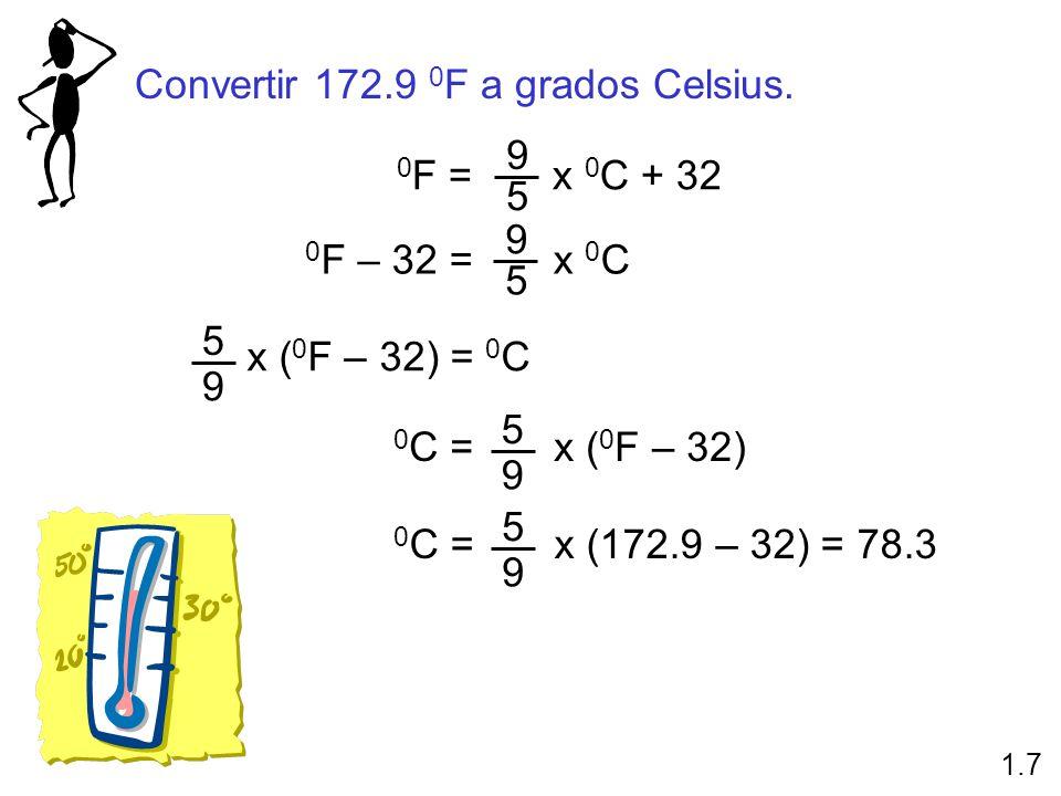 Convertir 172.9 0F a grados Celsius.