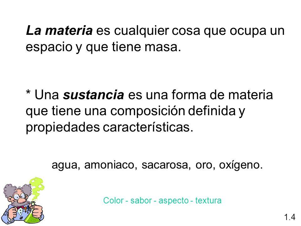La materia es cualquier cosa que ocupa un espacio y que tiene masa.