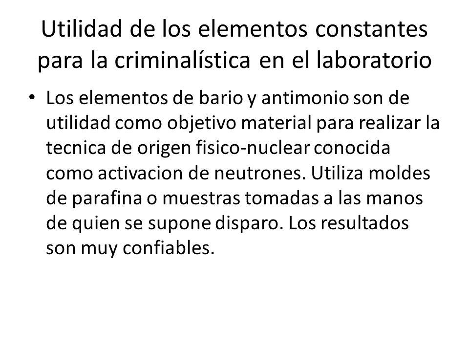 Utilidad de los elementos constantes para la criminalística en el laboratorio