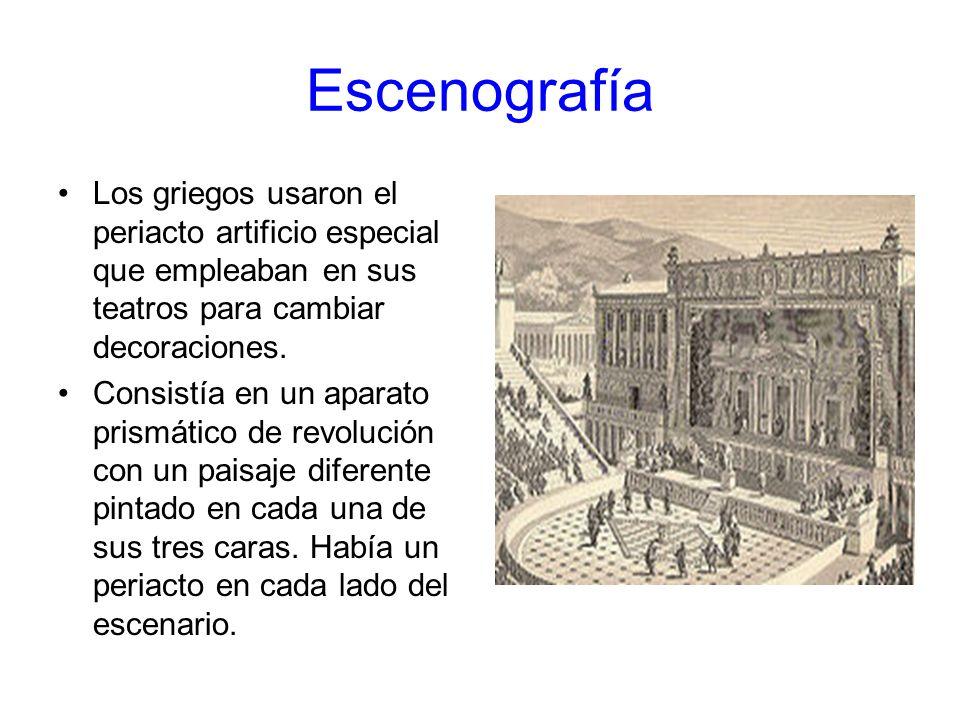 Escenografía Los griegos usaron el periacto artificio especial que empleaban en sus teatros para cambiar decoraciones.