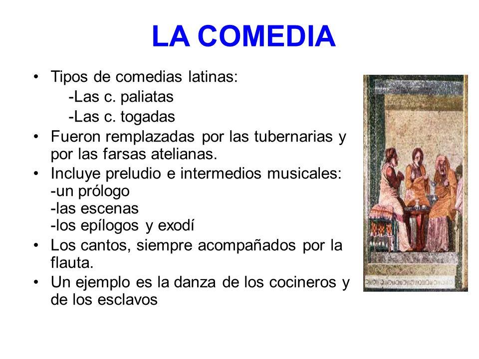 LA COMEDIA Tipos de comedias latinas: -Las c. paliatas -Las c. togadas