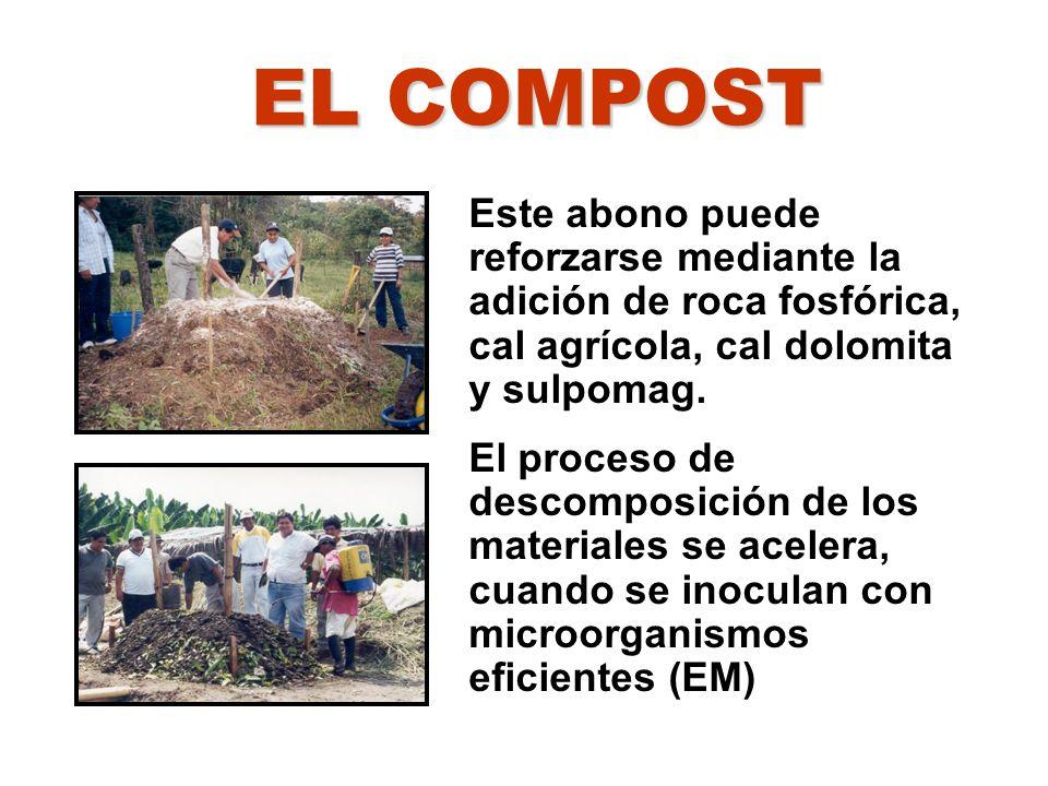 EL COMPOST Este abono puede reforzarse mediante la adición de roca fosfórica, cal agrícola, cal dolomita y sulpomag.