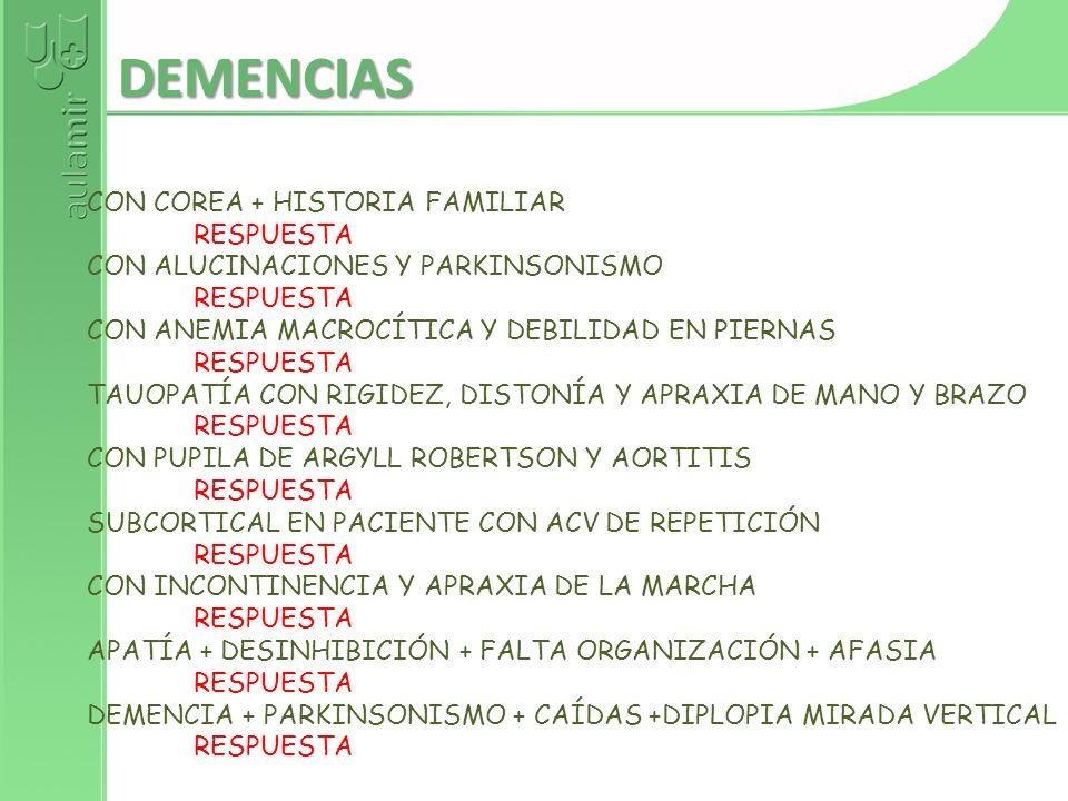 DEMENCIAS CON COREA + HISTORIA FAMILIAR RESPUESTA
