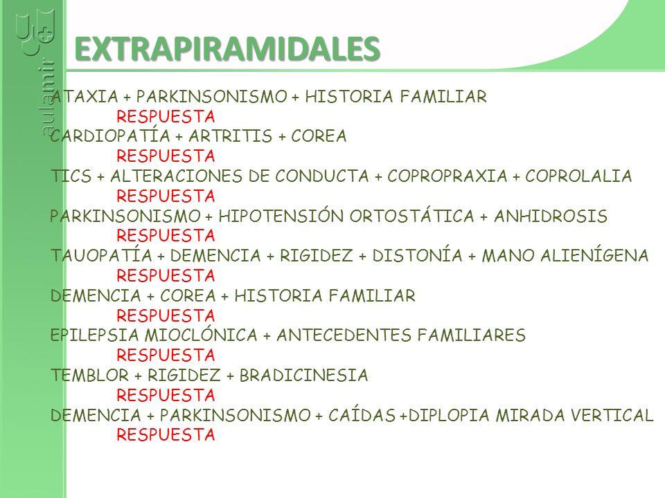 EXTRAPIRAMIDALES ATAXIA + PARKINSONISMO + HISTORIA FAMILIAR RESPUESTA