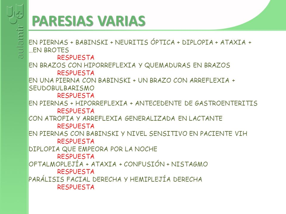 PARESIAS VARIAS EN PIERNAS + BABINSKI + NEURITIS ÓPTICA + DIPLOPIA + ATAXIA + …EN BROTES. RESPUESTA.