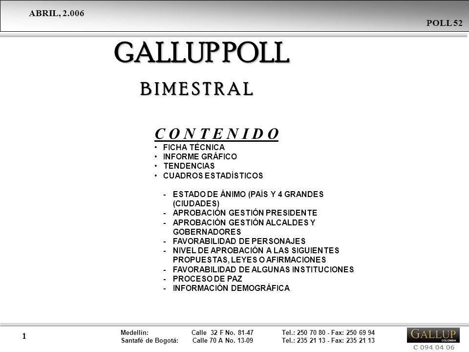 Medellín: Calle 32 F No. 81-47 Tel.: 250 70 80 - Fax: 250 69 94