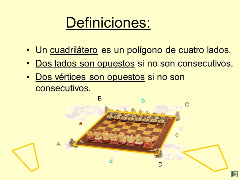Definiciones: Un cuadrilátero es un polígono de cuatro lados.