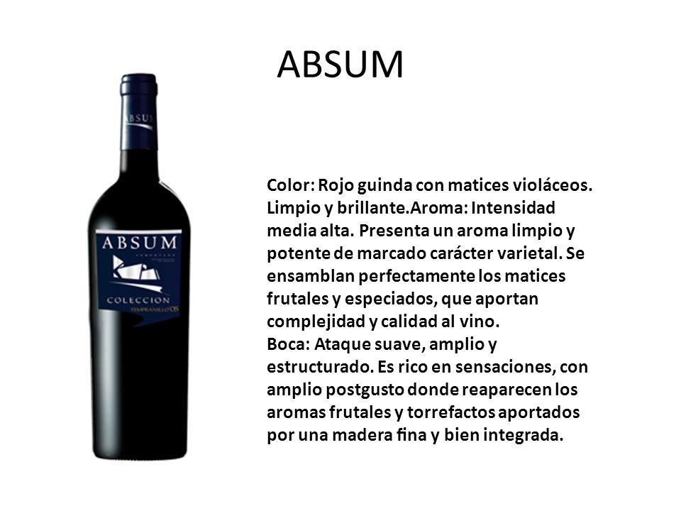 ABSUM Color: Rojo guinda con matices violáceos.