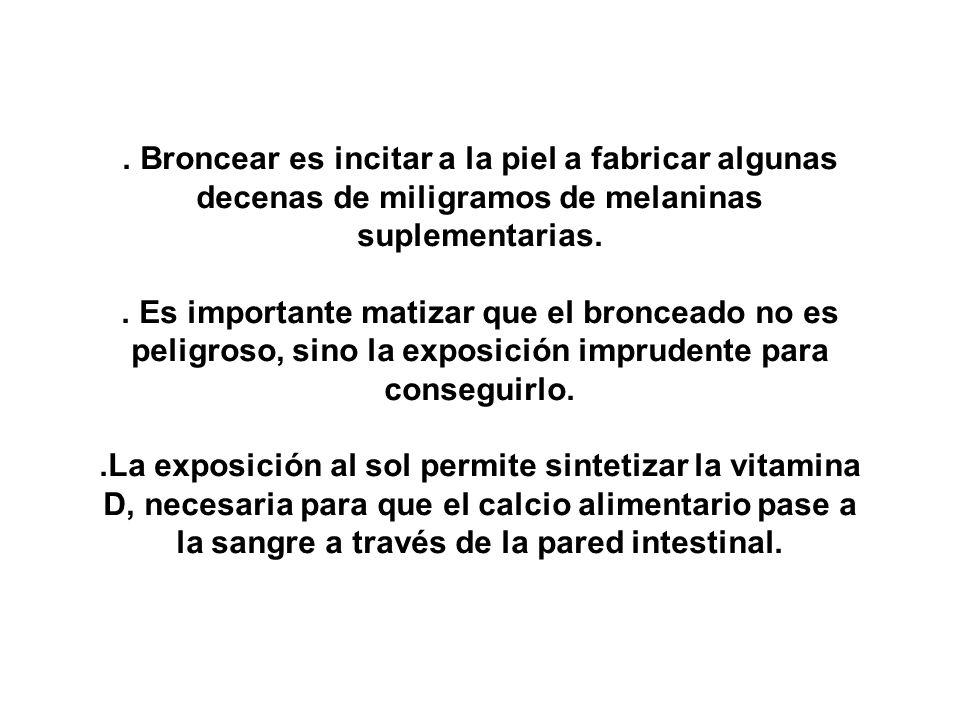 . Broncear es incitar a la piel a fabricar algunas decenas de miligramos de melaninas suplementarias.