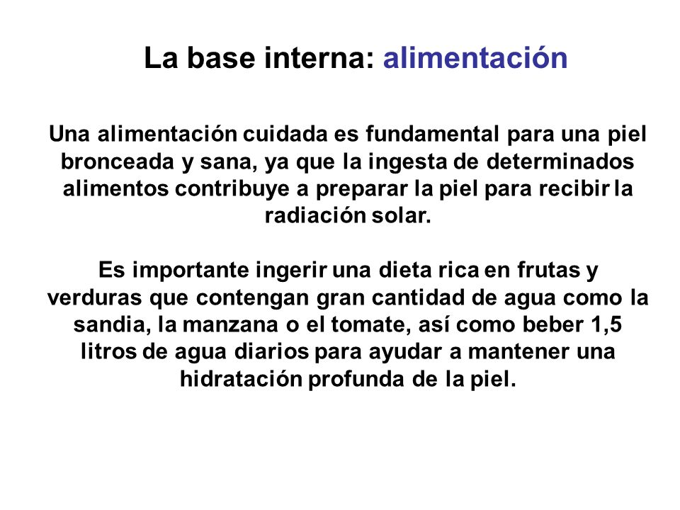 La base interna: alimentación