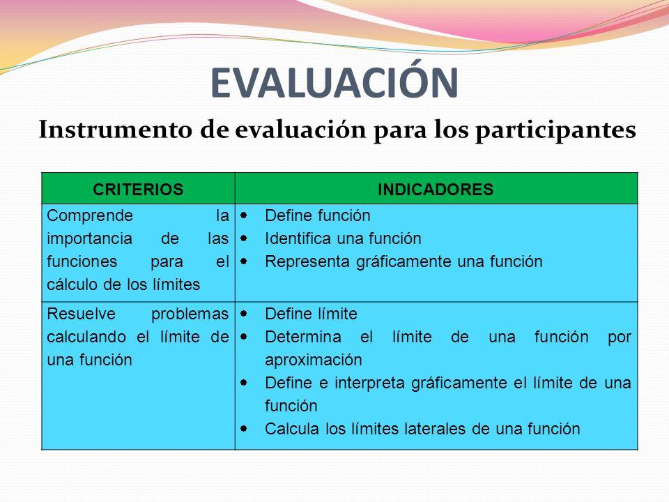 EVALUACIÓN Instrumento de evaluación para los participantes CRITERIOS