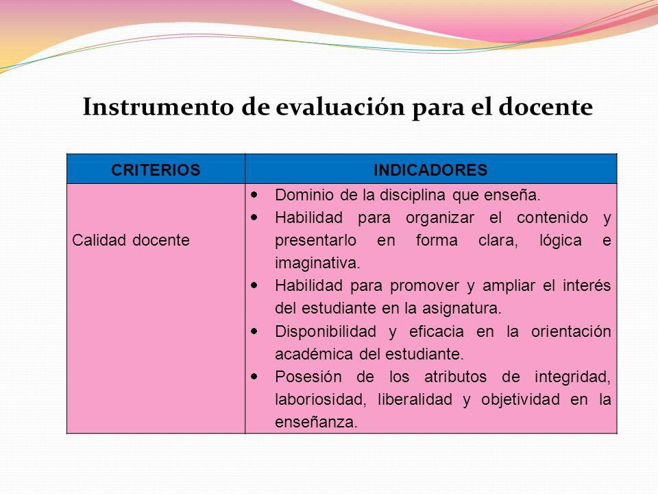Instrumento de evaluación para el docente