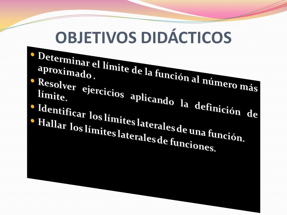 OBJETIVOS DIDÁCTICOS Determinar el límite de la función al número más aproximado . Resolver ejercicios aplicando la definición de límite.