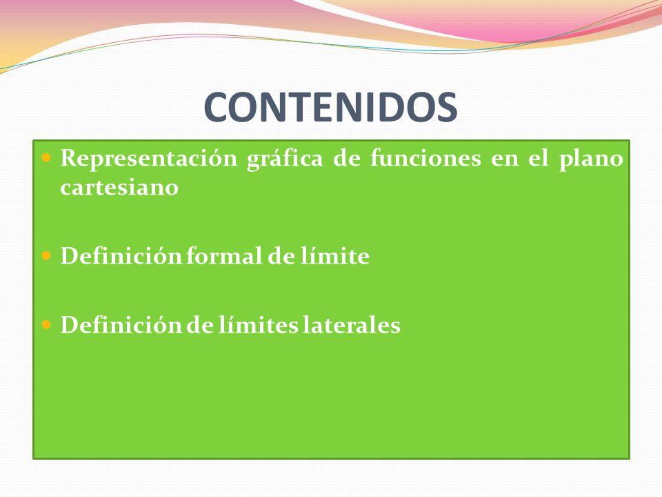 CONTENIDOS Representación gráfica de funciones en el plano cartesiano