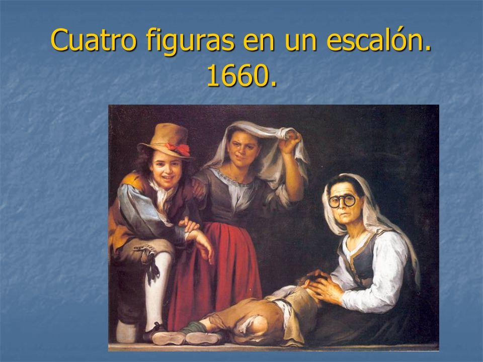 Cuatro figuras en un escalón. 1660.
