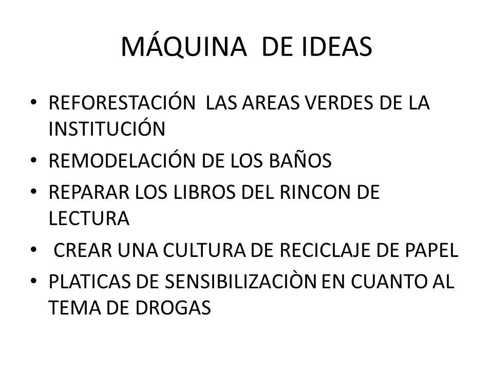 MÁQUINA DE IDEAS REFORESTACIÓN LAS AREAS VERDES DE LA INSTITUCIÓN