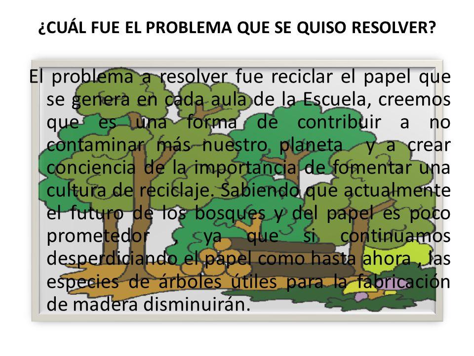 ¿CUÁL FUE EL PROBLEMA QUE SE QUISO RESOLVER