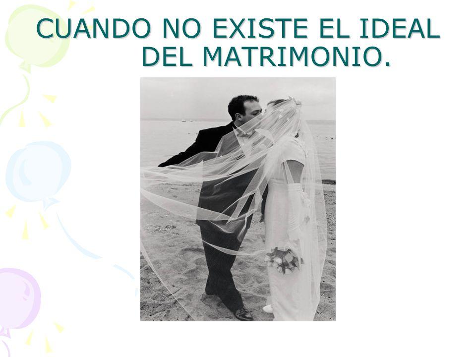 CUANDO NO EXISTE EL IDEAL DEL MATRIMONIO.