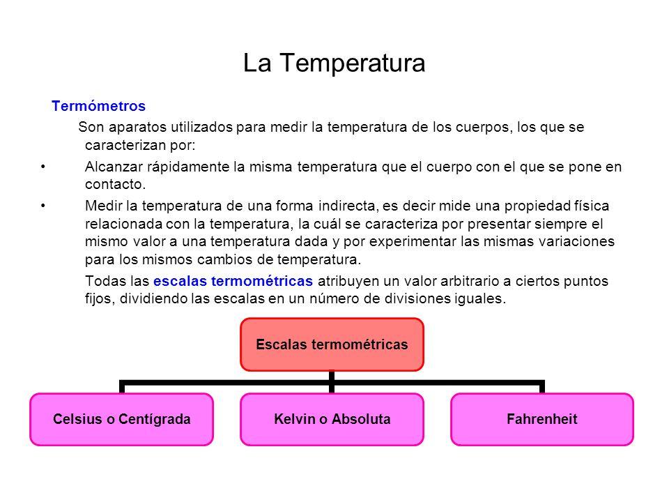 La Temperatura Termómetros. Son aparatos utilizados para medir la temperatura de los cuerpos, los que se caracterizan por: