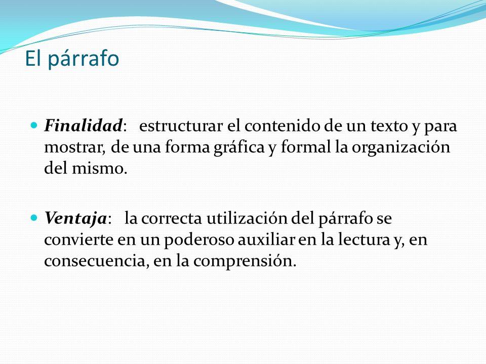 El párrafoFinalidad: estructurar el contenido de un texto y para mostrar, de una forma gráfica y formal la organización del mismo.