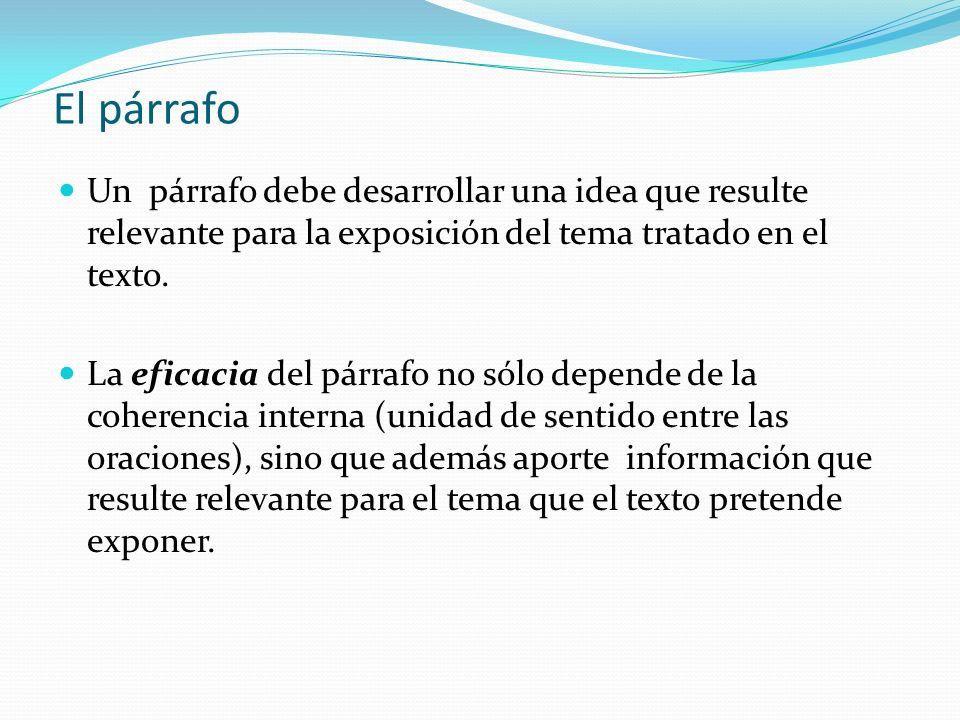 El párrafo Un párrafo debe desarrollar una idea que resulte relevante para la exposición del tema tratado en el texto.