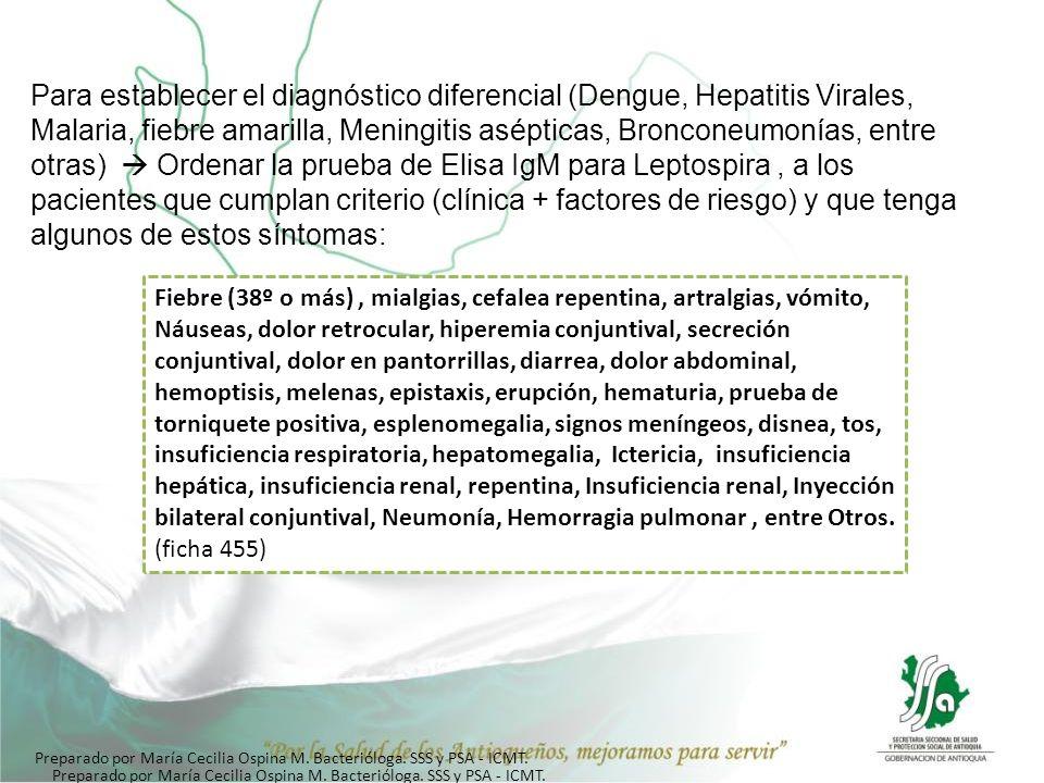 Para establecer el diagnóstico diferencial (Dengue, Hepatitis Virales, Malaria, fiebre amarilla, Meningitis asépticas, Bronconeumonías, entre otras)  Ordenar la prueba de Elisa IgM para Leptospira , a los pacientes que cumplan criterio (clínica + factores de riesgo) y que tenga algunos de estos síntomas: