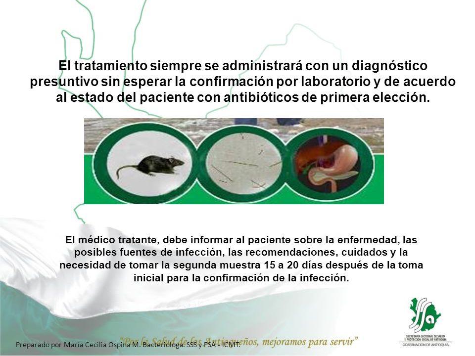 El tratamiento siempre se administrará con un diagnóstico presuntivo sin esperar la confirmación por laboratorio y de acuerdo al estado del paciente con antibióticos de primera elección.