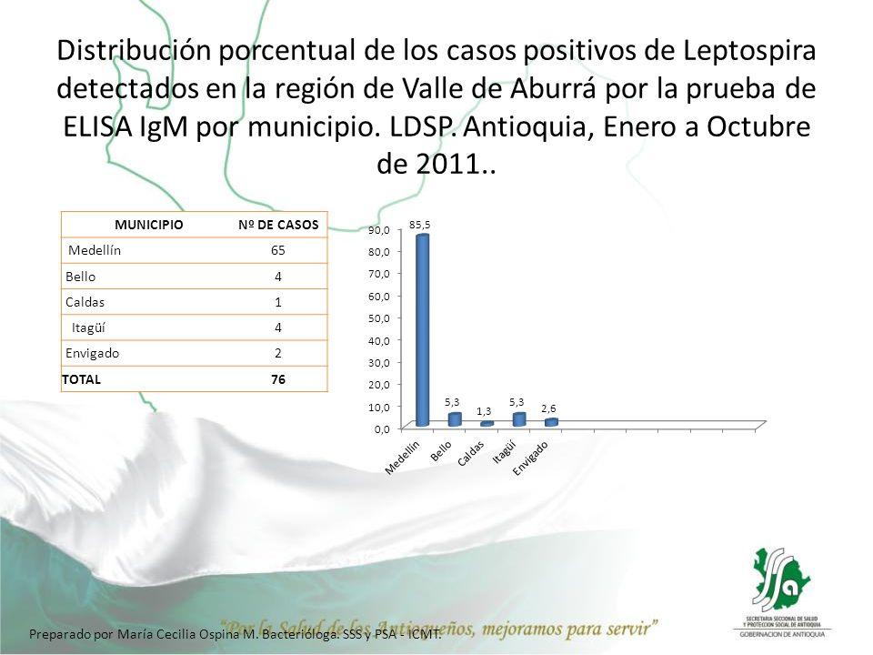 Distribución porcentual de los casos positivos de Leptospira detectados en la región de Valle de Aburrá por la prueba de ELISA IgM por municipio. LDSP. Antioquia, Enero a Octubre de 2011..