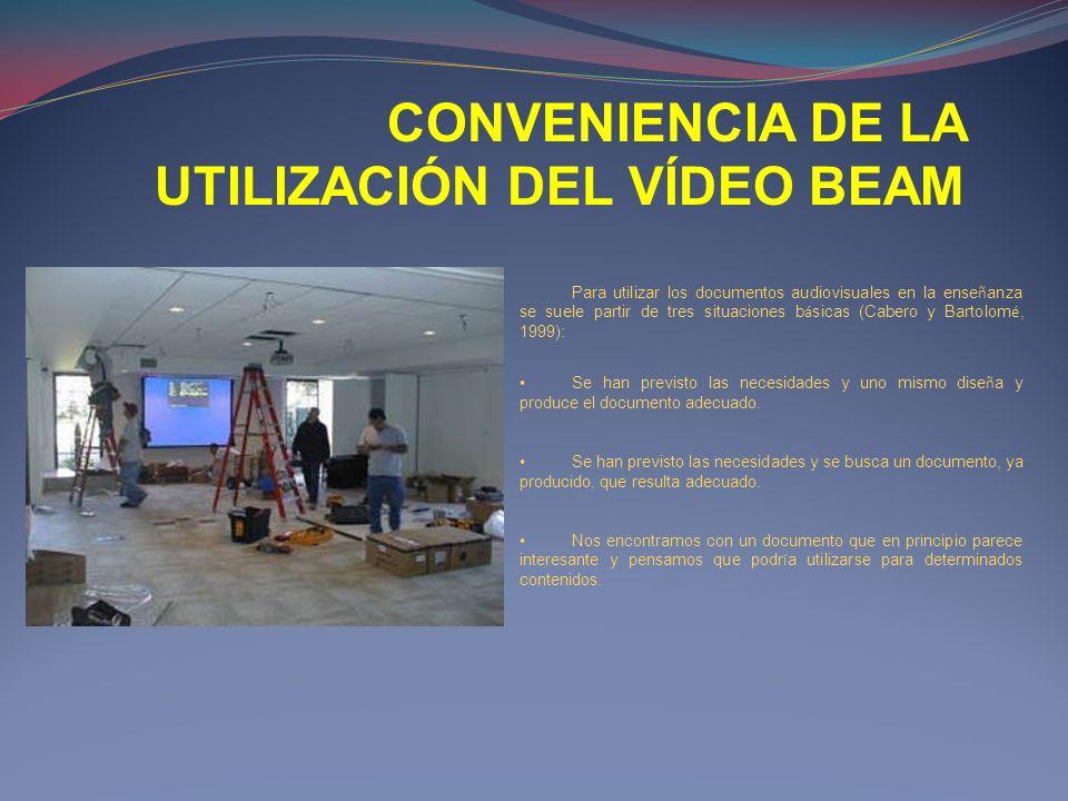 CONVENIENCIA DE LA UTILIZACIÓN DEL VÍDEO BEAM