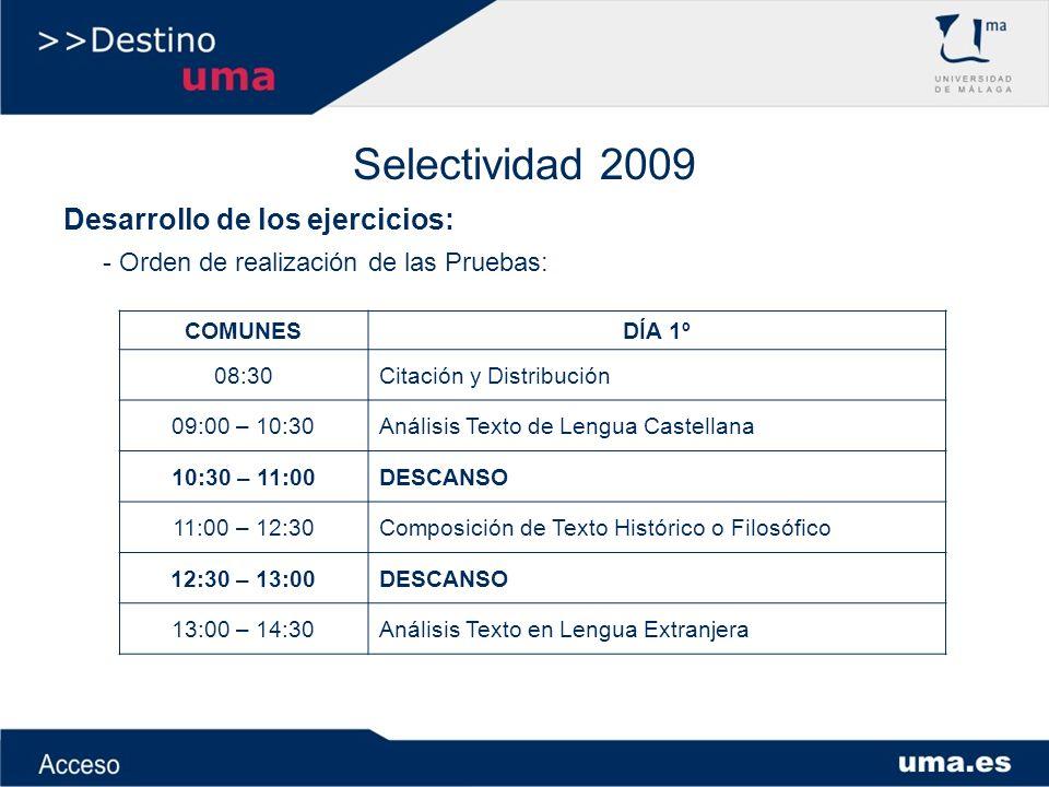 Selectividad 2009 Desarrollo de los ejercicios: