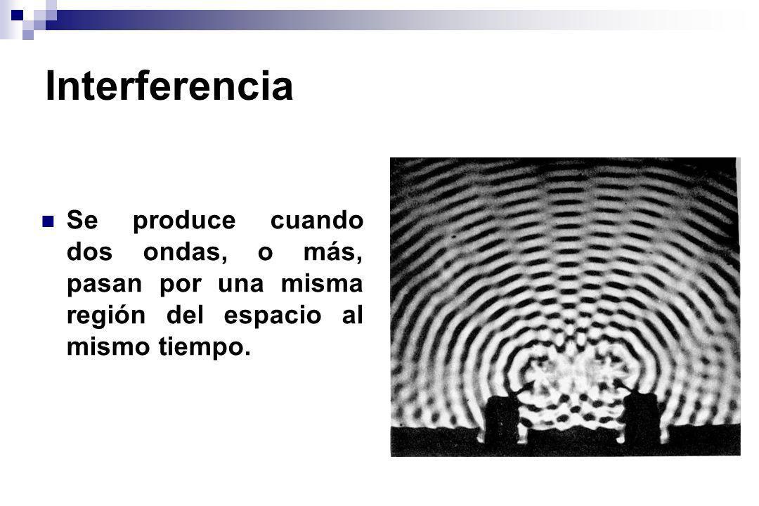 InterferenciaSe produce cuando dos ondas, o más, pasan por una misma región del espacio al mismo tiempo.