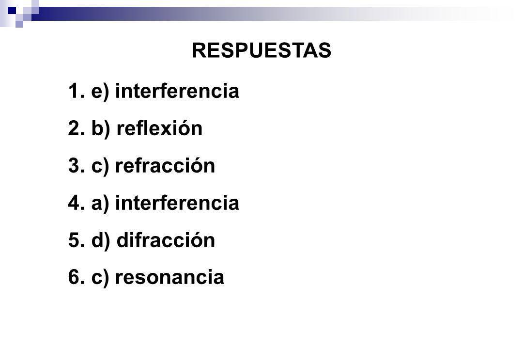 RESPUESTAS e) interferencia b) reflexión c) refracción a) interferencia d) difracción c) resonancia