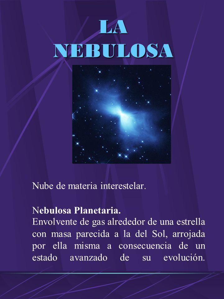 LA NEBULOSA Nube de materia interestelar. Nebulosa Planetaria.
