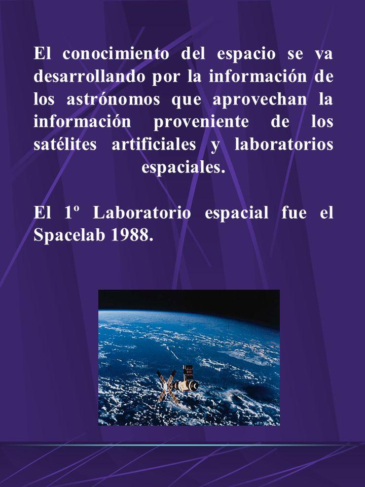 El conocimiento del espacio se va desarrollando por la información de los astrónomos que aprovechan la información proveniente de los satélites artificiales y laboratorios espaciales.