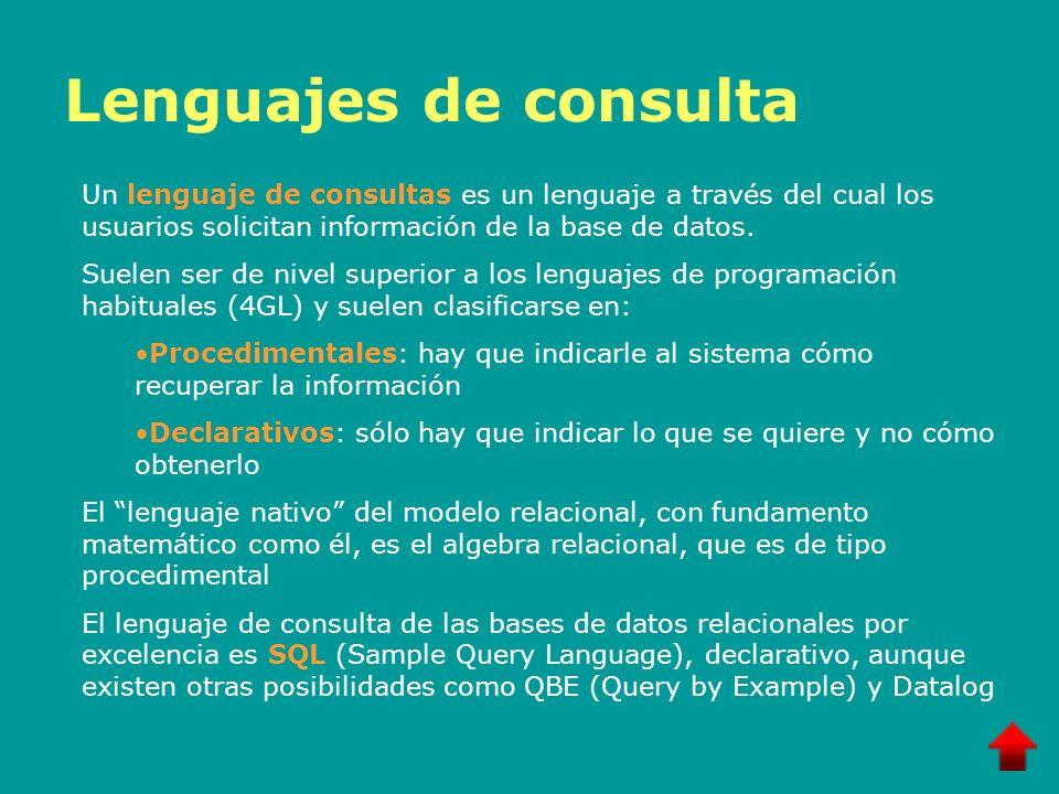 Lenguajes de consulta Un lenguaje de consultas es un lenguaje a través del cual los usuarios solicitan información de la base de datos.