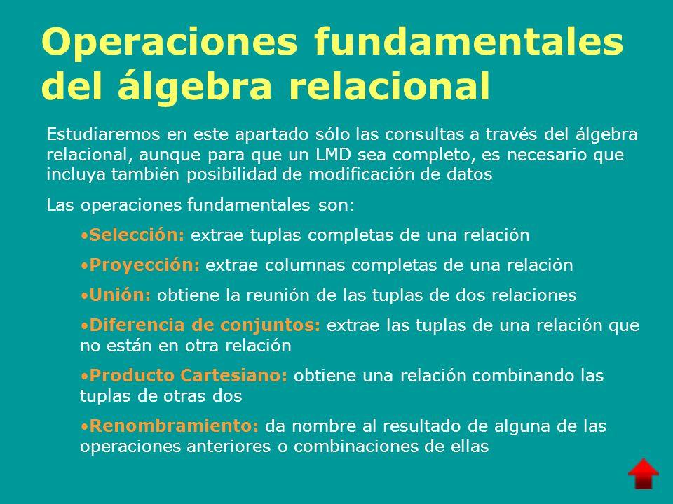Operaciones fundamentales del álgebra relacional