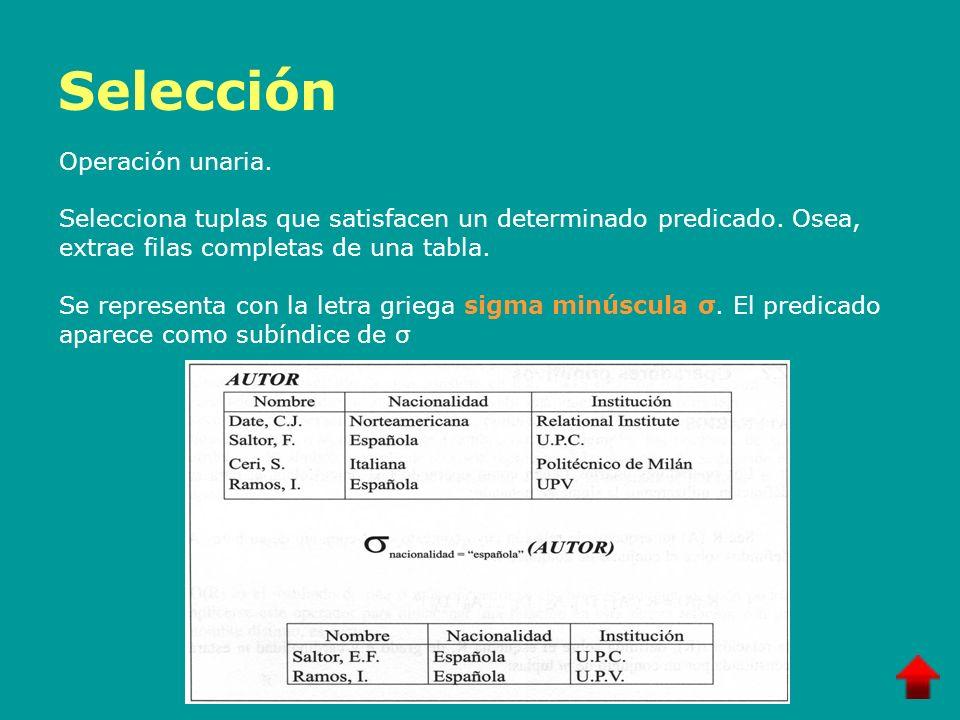 Selección Operación unaria.