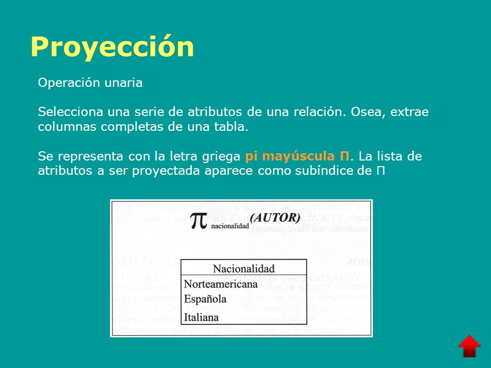 Proyección Operación unaria