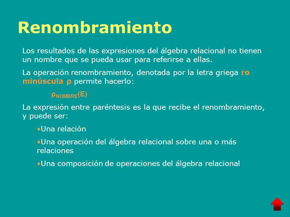 RenombramientoLos resultados de las expresiones del álgebra relacional no tienen un nombre que se pueda usar para referirse a ellas.